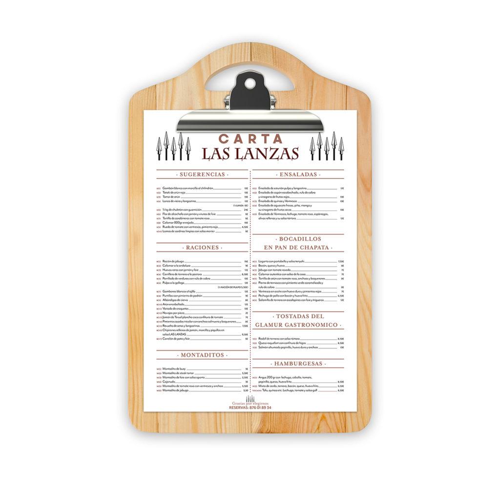 diseño carta Las Lanzas