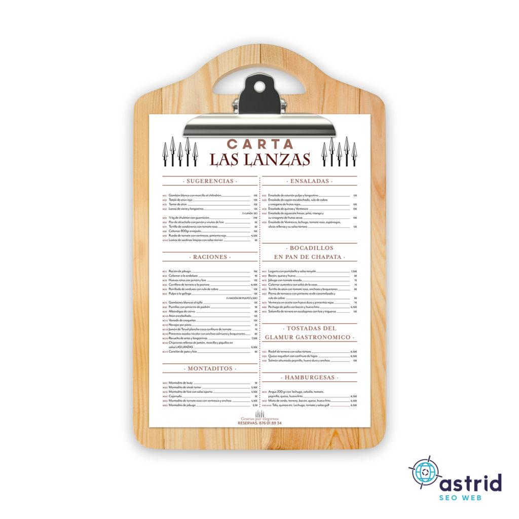 diseño carta restaurante