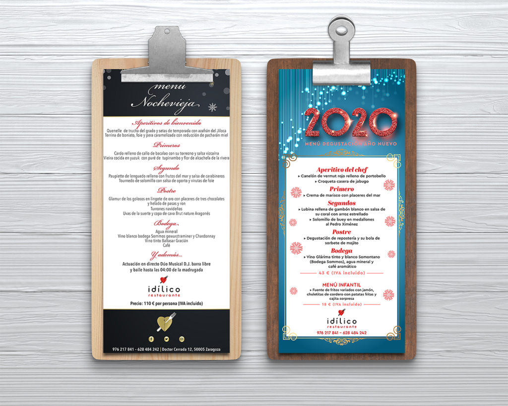 diseño menus restaurante