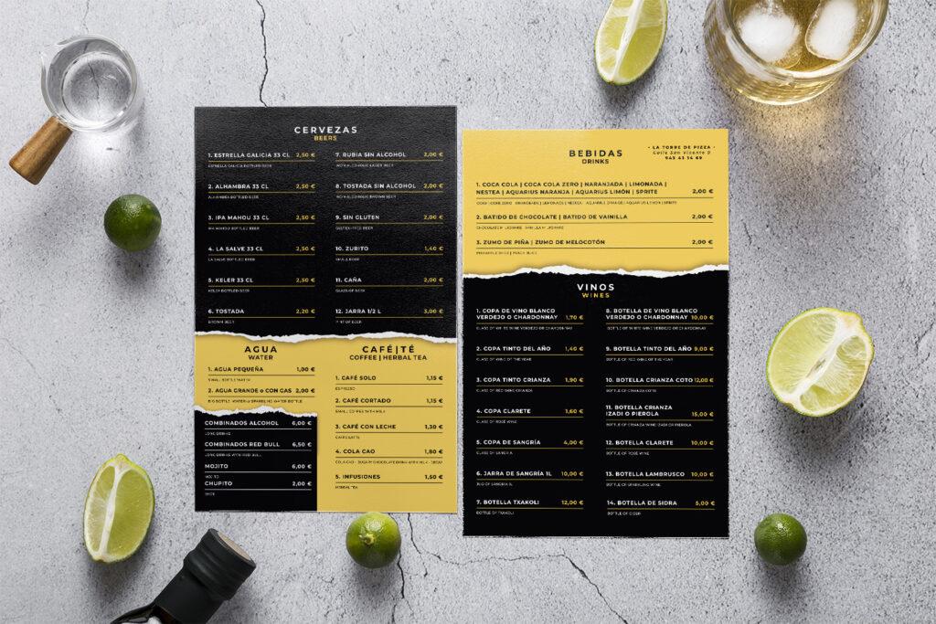 diseño carta restaurante pizzeria donostia