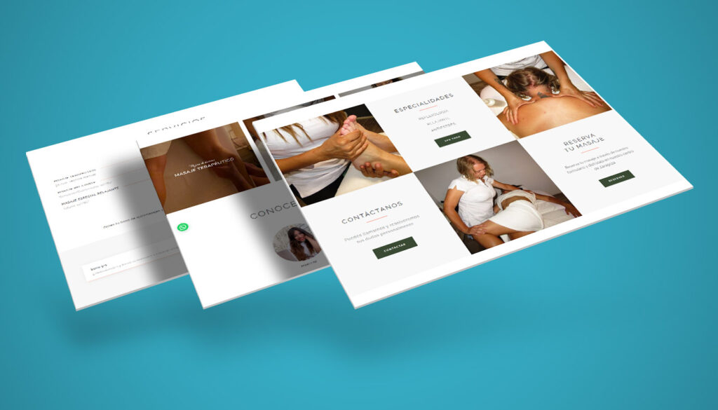 diseño página web masajes calme zaragoza